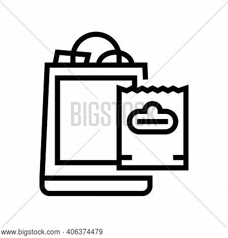 Package With Purchases Line Icon Vector. Package With Purchases Sign. Isolated Contour Symbol Black