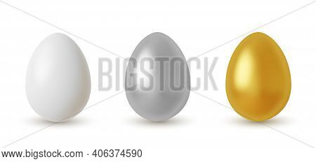 Vector Metal Easter Eggs Set. Realistic Silver And Golden Glitter Eggs Collection For Your Design