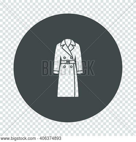 Business Woman Trench Icon. Subtract Stencil Design On Tranparency Grid. Vector Illustration.