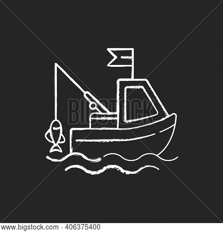 Boat Fishing Chalk White Icon On Black Background. Commercial Fishing. Fresh Sea Food. License For F