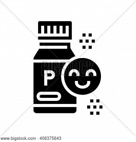Bottle With Healthcare Probiotics Glyph Icon Vector. Bottle With Healthcare Probiotics Sign. Isolate