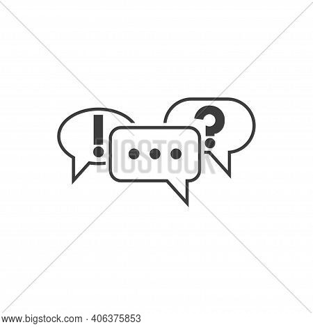 Communication Symbol. Speech Bubbles Icons With Ellipsis, Question Mark And Exclamation Mark. Pictog