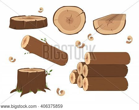 Wooden Elements, Lumber Wood Logs And Tree Trunks. Wood Trunks. Stacked Lumber Material, Trunk Twig