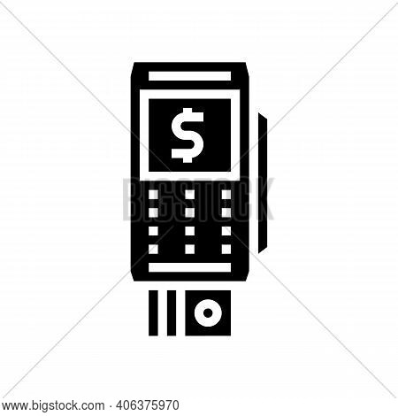 Bank Card Contact Pay Pos Terminal Glyph Icon Vector. Bank Card Contact Pay Pos Terminal Sign. Isola