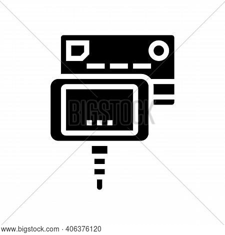 Card Paying Pos Terminal Glyph Icon Vector. Card Paying Pos Terminal Sign. Isolated Contour Symbol B