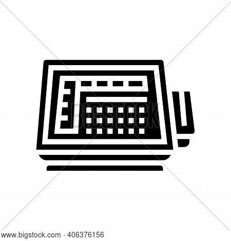 Self Service Pos Terminal Glyph Icon Vector. Self Service Pos Terminal Sign. Isolated Contour Symbol