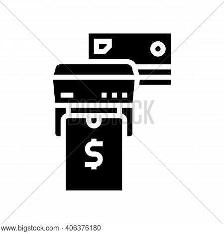Phone And Card Contactless Pay Pos Terminal Glyph Icon Vector. Phone And Card Contactless Pay Pos Te