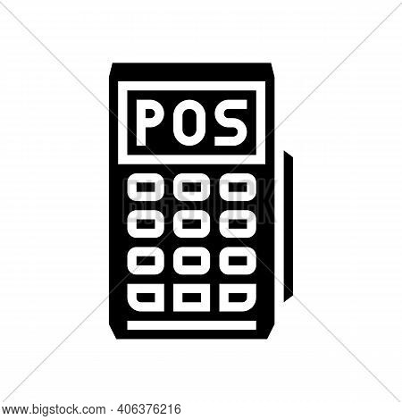 Mobile Pos Terminal Glyph Icon Vector. Mobile Pos Terminal Sign. Isolated Contour Symbol Black Illus