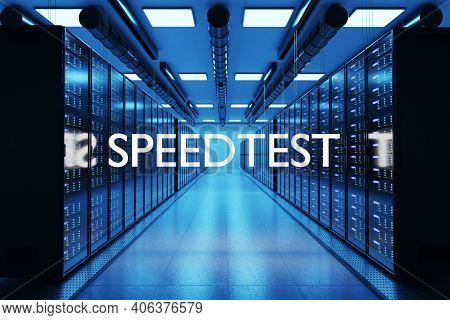 Speedtest Logo In Large Modern Data Center Multiple Rows Of Network Internet Server Racks, 3d Illust