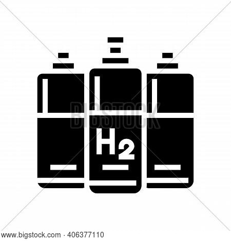 Cylinders Hydrogen Glyph Icon Vector. Cylinders Hydrogen Sign. Isolated Contour Symbol Black Illustr
