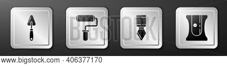 Set Palette Knife, Paint Roller Brush, Palette Knife And Pencil Sharpener Icon. Silver Square Button