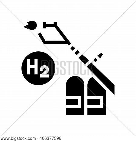 Use In Welding Hydrogen Glyph Icon Vector. Use In Welding Hydrogen Sign. Isolated Contour Symbol Bla