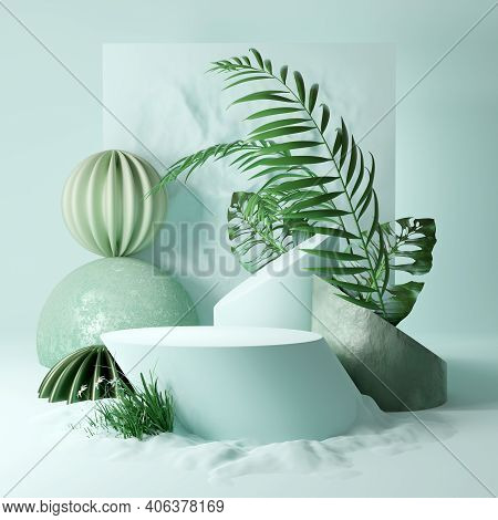 Contemporary Studio Platform Background With Plants And Abstract Shapes. Mint Coloured Stage 3d Illu