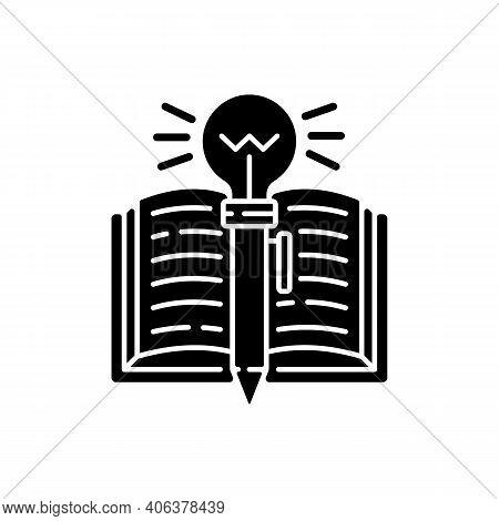 Creative Writing Black Glyph Icon. Improving Writing Skills Idea. Critical Thinking. Ability To Writ