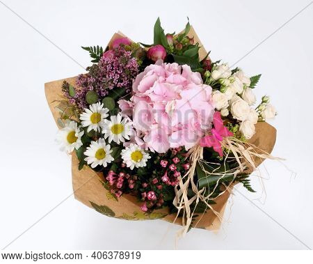 Gift Round Bouquet In White And Pink Colors. Made From Fresh Cut Flowers: Roses, Lilacs, Orchids And