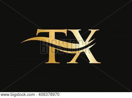 Initial Gold Letter Tx Logo Design. Tx Logo Design With Modern Trendy