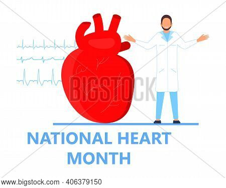 National Heart Month Concept Vector. Heart Diseases With Medical Bag And Ekg. Medical Template Of Hy