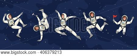 Vector Set Of Cartoon Flat Spacemans, Cosmonauts In Spacesuit.vector Cosmonaut Characters. Astronaut