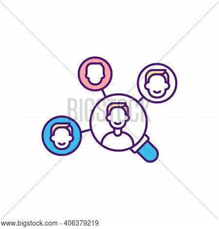 Organization Workforce Making Up Rgb Color Icon. Human Resources. Target Talent Management. Manpower
