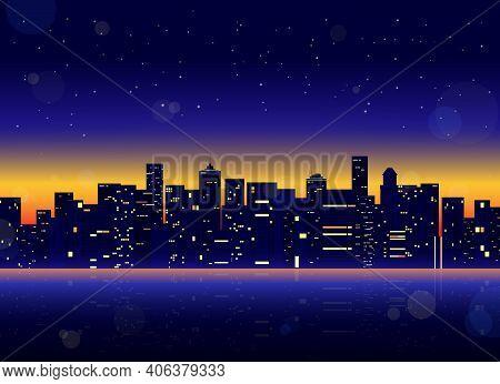 Futuristic Night City. Cityscape On A Dark Background. Futuristic Cityscape With Glowing Neon Purple
