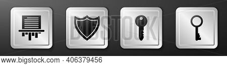 Set Paper Shredder, Shield, Key And Old Key Icon. Silver Square Button. Vector