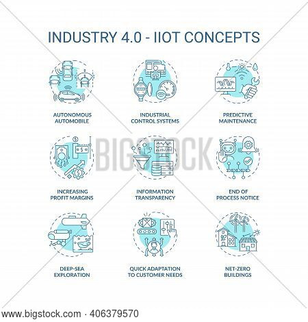 Industry 4.0 Concept Icons Set. Cps Usage Idea Thin Line Rgb Color Illustrations. Iiot. Increasing P