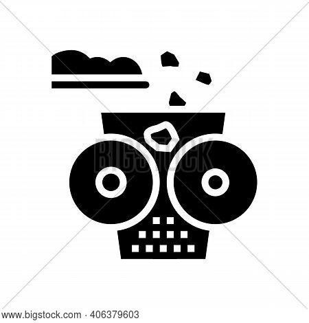 Crushing Stone Machine Glyph Icon Vector. Crushing Stone Machine Sign. Isolated Contour Symbol Black