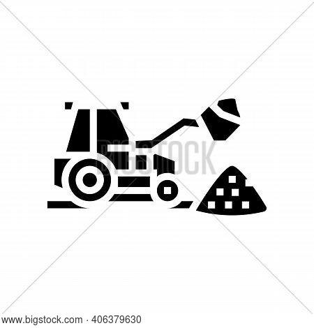 Tractor Stone Gravel Loading Machine Glyph Icon Vector. Tractor Stone Gravel Loading Machine Sign. I