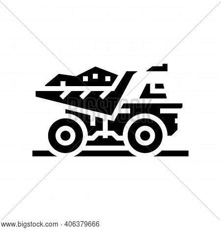 Dump Truck Stone Transportation Glyph Icon Vector. Dump Truck Stone Transportation Sign. Isolated Co