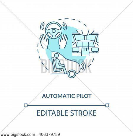 Automatic Pilot Concept Icon. Autopilot Idea Thin Line Illustration. Automatic Navigation. Without R