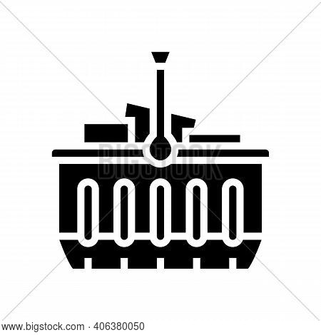 Basket With Purchases Glyph Icon Vector. Basket With Purchases Sign. Isolated Contour Symbol Black I