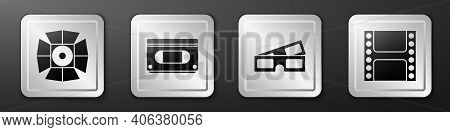 Set Movie Spotlight, Vhs Video Cassette Tape, 3d Cinema Glasses And Play Video Icon. Silver Square B