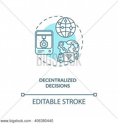 Decentralized Decisions Concept Icon. Industry 4.0 Design Principle Idea Thin Line Illustration. Dri