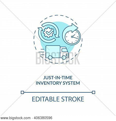 Just-in-time Inventory System Concept Icon. M2m Communication Idea Thin Line Illustration. Reducing