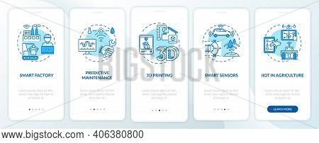 Industry 4.0 Tendency Onboarding Mobile App Page Screen With Concepts. Smart Farming, 3d Printing, S