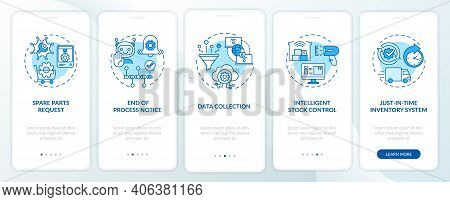 Machine-to-machine Communication Onboarding Mobile App Page Screen With Concepts. Parts Request, Dat