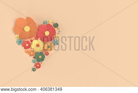 Paper Elegant Flowers On Beige Background. Valentine's Day, Easter, Mother's Day, Wedding Greeting C
