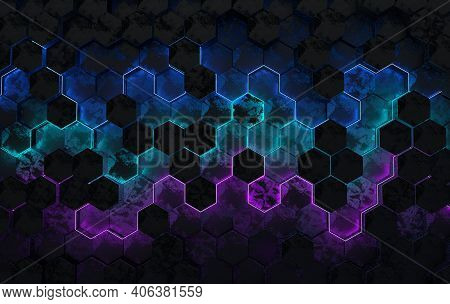 Hexagonal Abstract Background, Depth Of Field Effect. Futuristic Cellular 3d Panel With Hexagons And