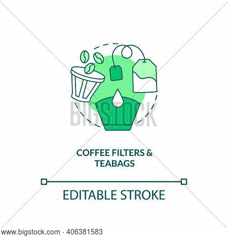 Coffee Filters And Teabags Concept Icon. Food-spoiled Paper Waste Idea Thin Line Illustration. Rotti