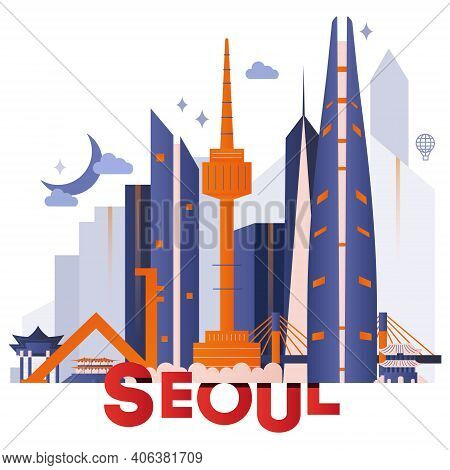 Seoul Culture Travel Night Set, Famous Architects, And Specialties Detailed Silhouette. Korea's Famo