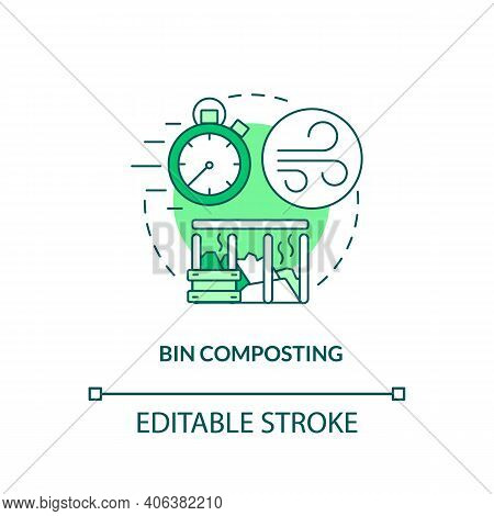 Bin Composting Concept Icon. Composting Method Idea Thin Line Illustration. Retaining Warmth And Moi