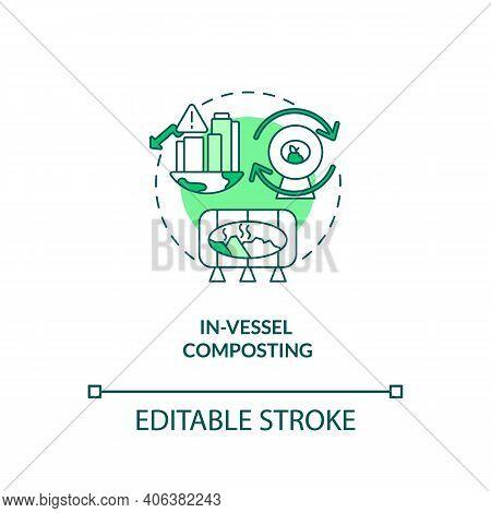 In-vessel Composting Concept Icon. Composting Method Idea Thin Line Illustration. Decomposing Organi