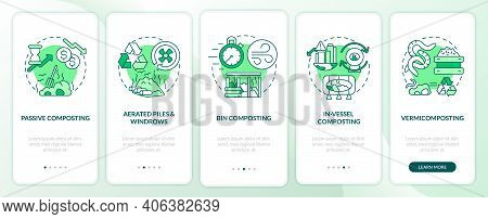 Decomposition Onboarding Mobile App Page Screen With Concepts. Passive, Bin, In-vessel Composting Wa