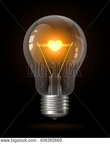 Realistic Glowing Light Bulb With Transparency Isolated On Black. Inside The Lamp Is Incandescent Fi
