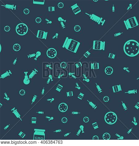 Set Gmo, Syringe, Gmo Research Chicken And Petri Dish With Bacteria On Seamless Pattern. Vector