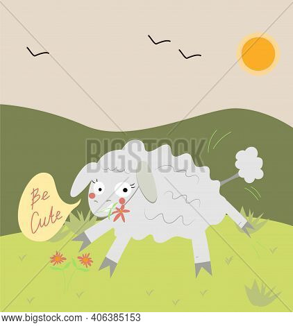 Cute Cartoon Sheep Jumping In The Field. The Sheep Has A Wild Flower. Character For A Children's Car