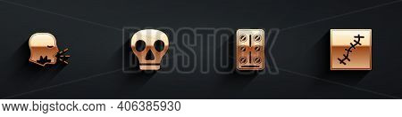 Set Man Coughing, Skull, Pills Blister Pack And Scar With Suture Icon With Long Shadow. Vector