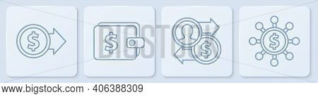 Set Line Coin Money With Dollar, Job Promotion Exchange Money, Wallet With Dollar And Dollar, Share,