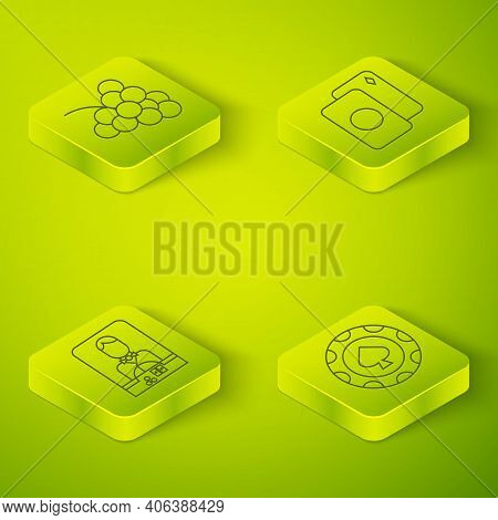 Set Isometric Deck Of Playing Cards, Casino Dealer, Casino Chips And Casino Slot Machine With Grape