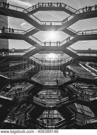 Beautiful Vertical View Of The Vessel (hudson Yards Staircase) During A Beautiful Sunset In The Back